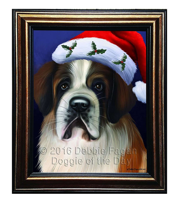 Christmas Saint Bernard Dog Holiday Portrait with Santa Hat Framed Canvas Print Wall Art