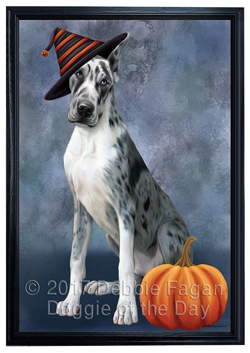 Happy Halloween Great Dane Dog Wearing Witch Hat with Pumpkin Framed Canvas Print Wall Art