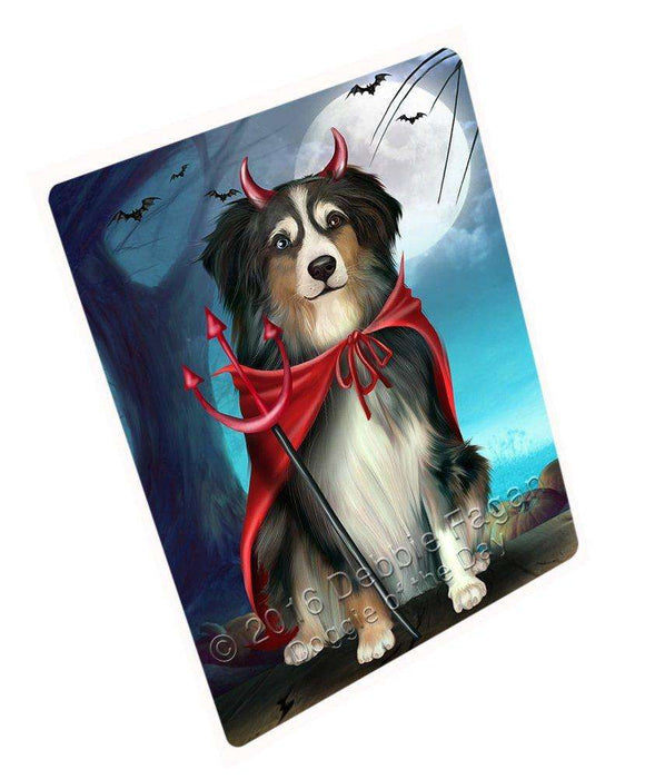 Happy Halloween Trick or Treat Australian Shepherd Dog Devil Large Refrigerator / Dishwasher Magnet