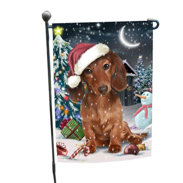 Have a Holly Jolly Christmas Dachshund Dog in Holiday Background Garden Flag D082