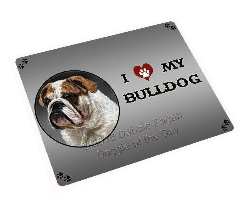 I Love My Bulldog Dog Art Portrait Print Woven Throw Sherpa Plush Fleece Blanket