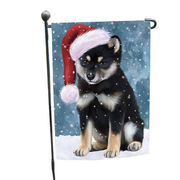 Let it Snow Christmas Holiday Shiba Inu Dog Wearing Santa Hat Garden Flag