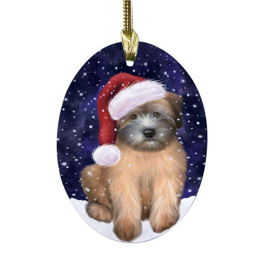 Let it Snow Christmas Holiday Wheaton Terrier Dog Oval Glass Christmas Ornament OGOR48974