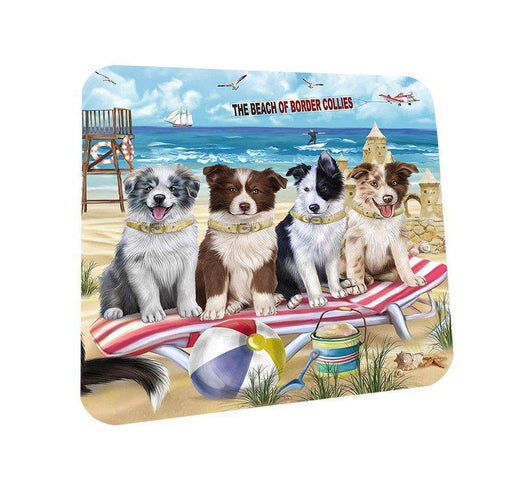 Pet Friendly Beach Border Collies Dog Coasters Set of 4 CST48581
