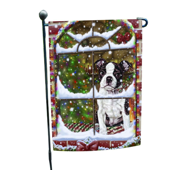 Please Come Home For Christmas Boston Dog Sitting In Window Garden Flag
