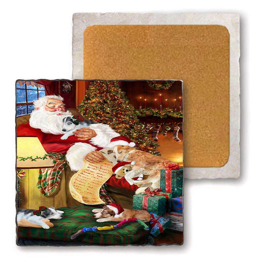 Set of 4 Natural Stone Marble Tile Coasters - Borzois Dog and Puppies Sleeping with Santa MCST48129