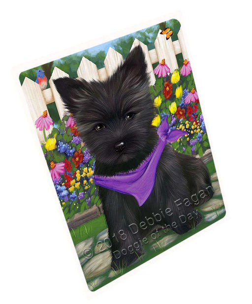 Spring Dog House Cairn Terriers Dog Tempered Cutting Board C53358