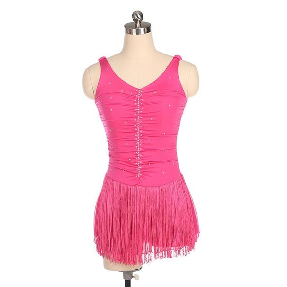 Vertical Ruche Skating Dress with Fringe Skirt | Rose Red | Size 14