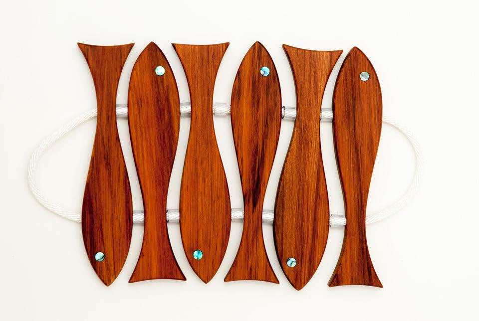 Six Fish Rimu Pot Stand