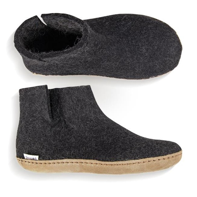 Glerups Leather Sole Felted Wool Boot in Charcoal