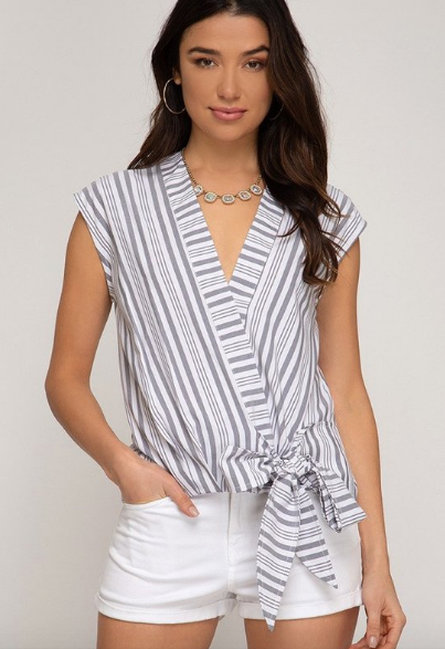 Grey Stripe & Tie Top