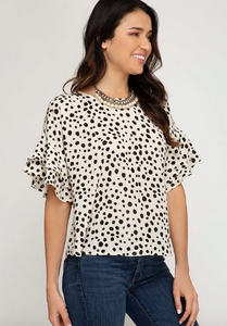 Cream Polka Dot Top with Back Tie