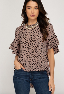 Rose Polka Dot Top with Back Tie
