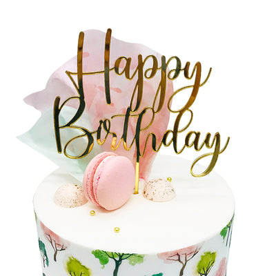 Acrylic/Wooden Cake Topper - Happy Birthday
