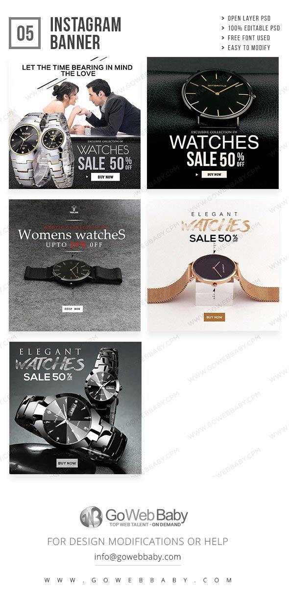 Instagram Ad Banners - Elegant Watches For Men - GoWebBaby.Com
