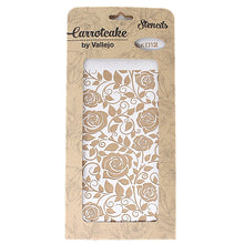 Plantilla Stencil 25x12,5cm Carrotcake Happy - Leaves and Roses by Vallejo