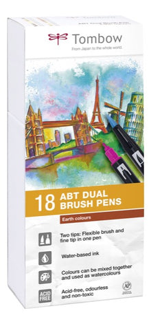 Set 18 Rotuladores Tombow Dual Brush Colores Tierra