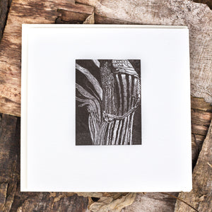 relief print art of wood engraving of Arisaema flower
