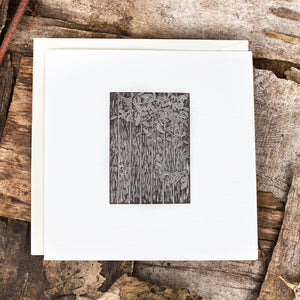 wood engraving relief print art card