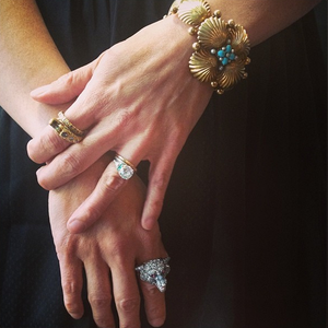 Elizabeth Doyle wearing her collection of antique rings