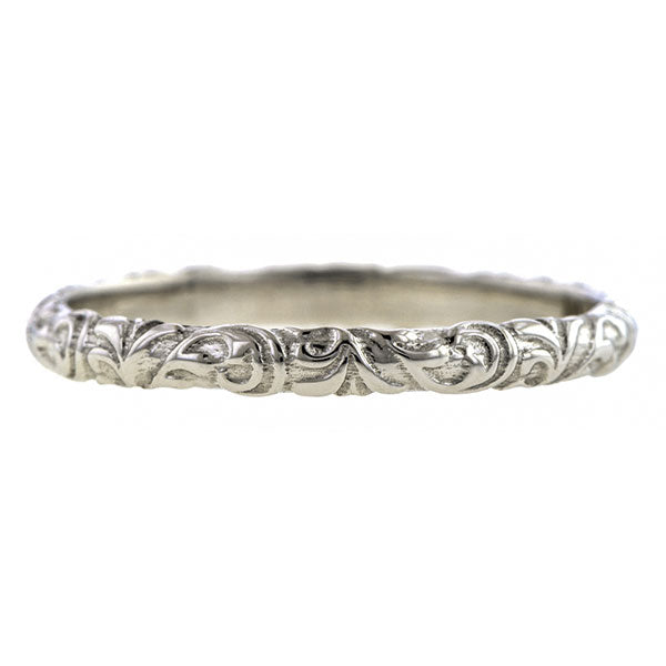 Contemporary ring: a White Gold Scrolling Pattern Band, Heirloom sold by Doyle & Doyle vintage and antique jewelry boutique.