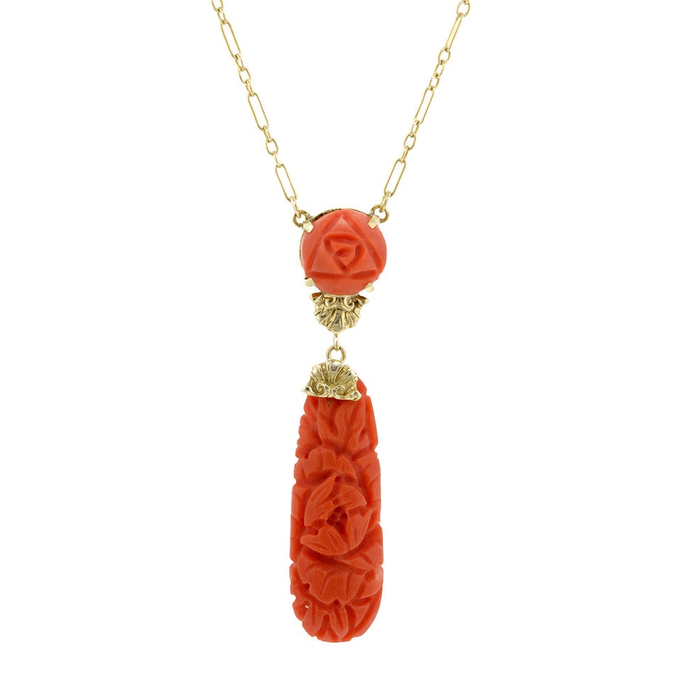 Art Deco Carved Coral Lavelier Necklace