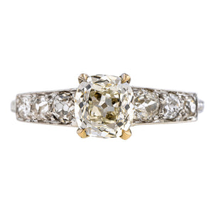 Vintage ring: a Platinum Engagement Ring, Cushion Cut 1.12ct., sold by Doyle & Doyle a vintage and antique jewelry boutique.