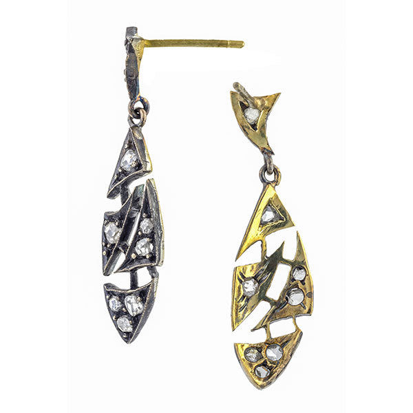 Vintage earrings: a Silver-Topped 14k Yellow Gold With Rose Cut Diamonds Drop Earrings, sold by Doyle & Doyle vintage and antique jewelry boutique