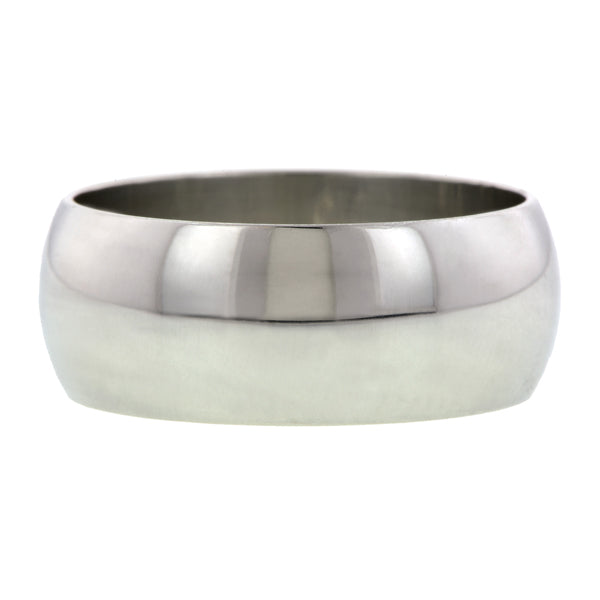 Contemporary ring: a Platinum 8mm Half Round Wedding Band sold by Doyle & Doyle vintage and antique jewelry boutique.