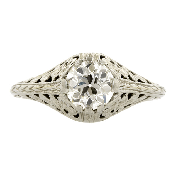 Vintage ring: a White Gold Old European Cut Diamond Engagement Ring sold by Doyle & Doyle vintage and antique jewelry boutique.