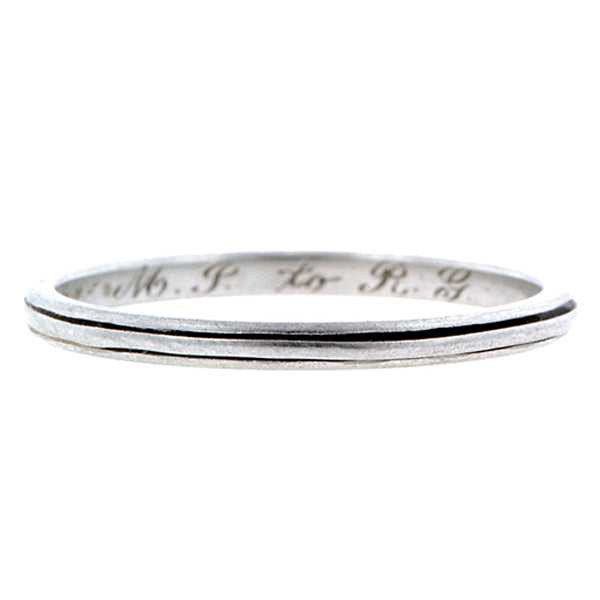 Vintage ring: a Platinum Double Ridge Wedding Band sold by Doyle & Doyle vintage and antique jewelry boutique.