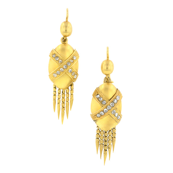 Victorian Diamond Drop Fringe Earrings::Doyle & Doyle