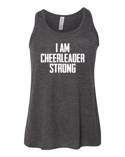 Heather Dark Gray I Am Cheerleader Strong Girls Flowy Racerback Cheer Tank Top