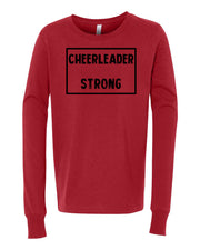 Red Cheerleader Strong Kids Long Sleeve Cheer T-Shirt
