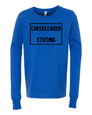 Royal Blue Cheerleader Strong Kids Long Sleeve Cheer T-Shirt