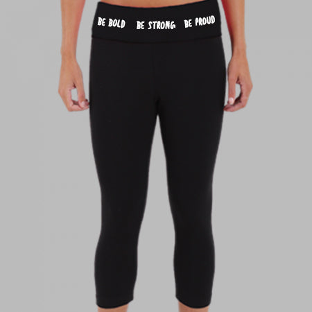 Cheerleading Be Bold Be Proud Be Strong Girls Cheer Capris Front