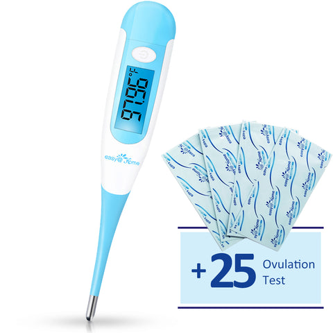 Easy@Home Digital Basal Thermometer EBT-100 with Bonus 25 Ovulation Test Strips,