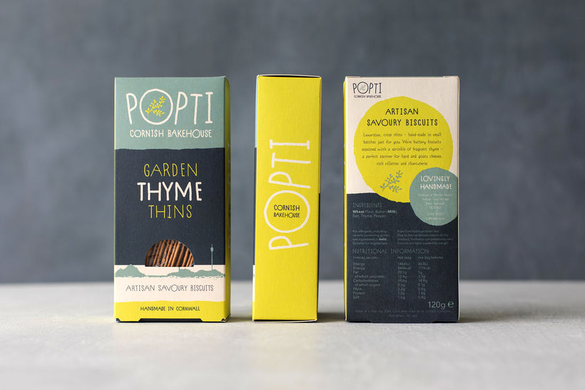 Garden Thyme Savoury Thins from POPTI Cornish Bakehouse are made with butter and garden thyme.