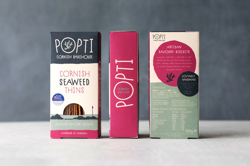 Artisan Cornish seaweed savoury biscuits from POPTI. Perfectly paired with soft cheese and cured meats from Cornish Charcuterie