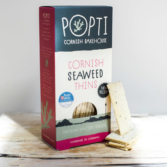 Award winning Cornish seaweed Savoury Thins from POPTI Cornish Bakehouse are made with butter and Cornish seaweed