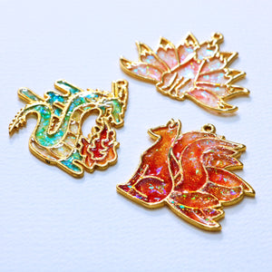 Nine-Tailed Foxes and Dragons Resin Pendant