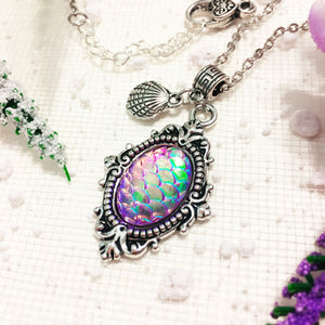 Mermaid Scale Adjustable Silver Necklace