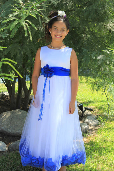 White Tulle Floral Rose Petals Princess Wedding Pageant Recital Birthday Flower Girl Dress 007
