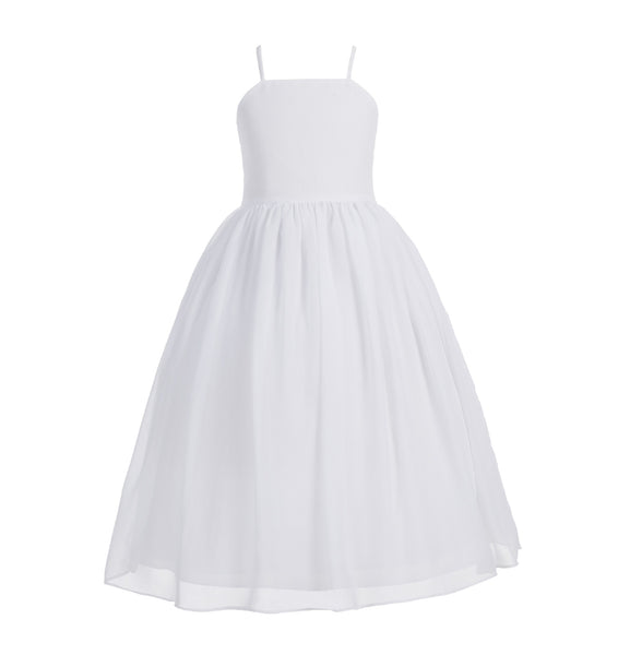 Criss-Cross Chiffon Flower Girl Dress Special Occasion Dresses Pageant Gown Junior Princess 191