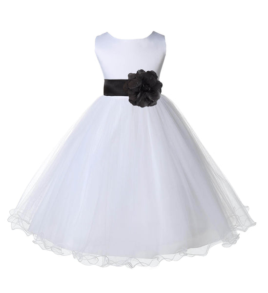 White Formal Wedding Pageant Special Occasions Rattail Edge Tulle Flower Girl Dress 829S