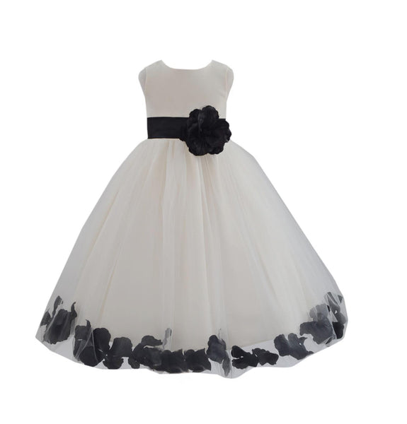 Ivory Tulle Floral Petals Flower Girl Dress Special Occasions Junior Pageant Wedding Holiday 302S(3)