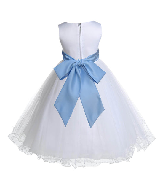 White Formal Wedding Pageant Special Occasions Rattail Edge Tulle Flower Girl Dress 829S2