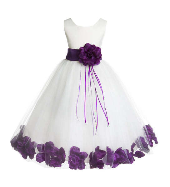 Ivory Tulle Floral Rose Petals Princess Wedding Pageant Recital Birthday Flower Girl Dress 007
