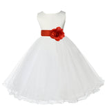 Ivory Formal Wedding Pageant Special Occasions Rattail Edge Tulle Flower Girl Dress 829T2