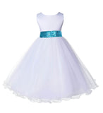 White Formal Wedding Pageant Special Occasion Rattail Edge Tulle Sequin Mesh Flower Girl Dress 829mh